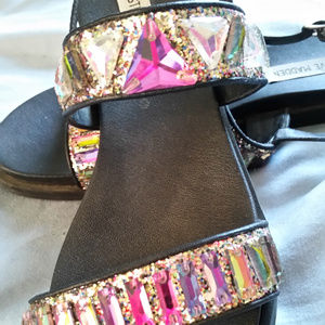 Steve Madden Glitter Jeweled Sandals